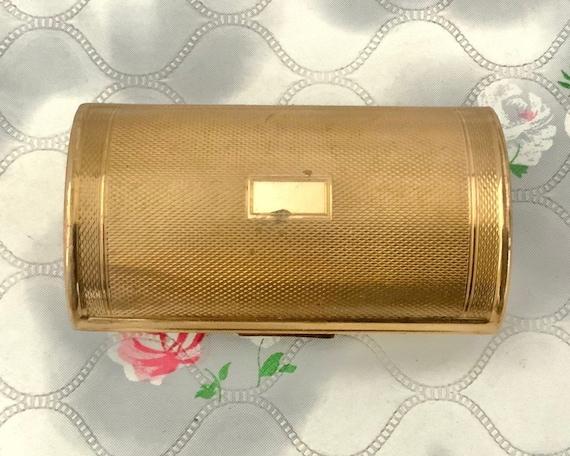 Kigu ladies vintage cigarette case, mid century gold metal barrel shaped lipstick holder,