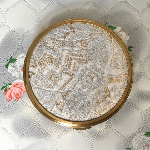 Vintage powder compact with gold and silver fabric, gold tone makeup mirror c1960s or 1970s