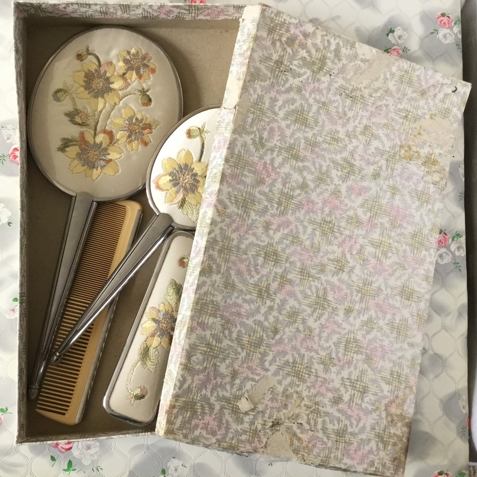 Boxed Delina Four Piece Vintage Vanity Dresser Set With