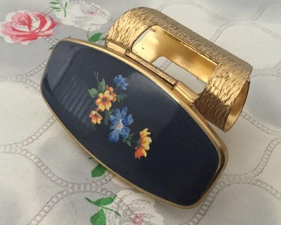 Vintage lipstick holder, c 1960s or 1970s gold and blue floral enamel lip mirror, handbag makeup compact