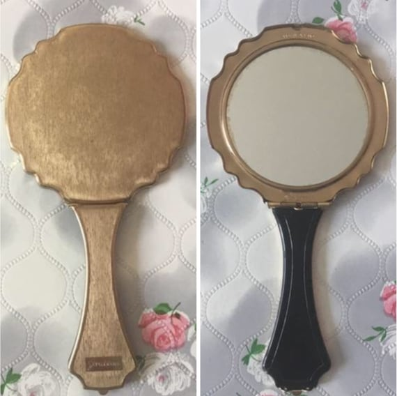 Stratton Petite magnifying hand mirror, c 1950s, vintage gold tone folding makeup or compact mirror for handbag