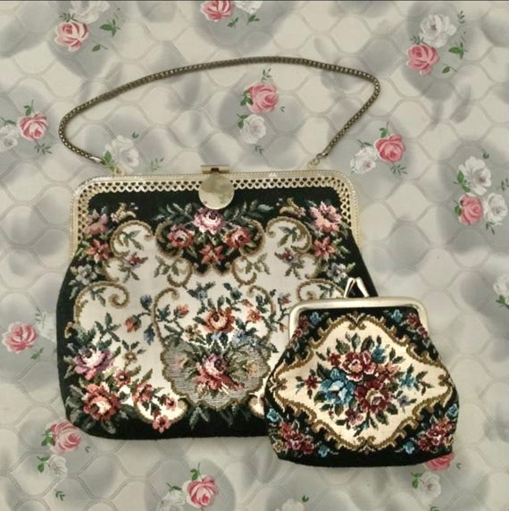 Tapestry bag with flowers and coin purse, vintage purse c 1960s or 1970s with gold wrist chain
