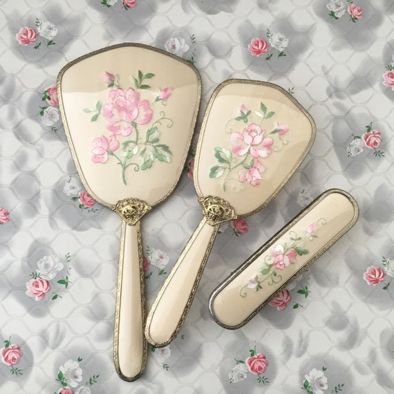 RESERVED RESERVED Ladies embroidered vanity set, c 1950s or 1960s with hand mirror, hairbrush, and clothes brush, with pink flowers