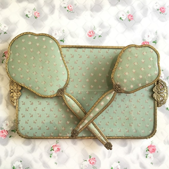 Regent of London Vintage vanity set with hand mirror, hairbrush and tray, 1950s green fabric dresser set