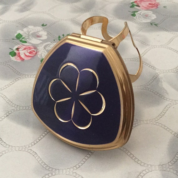 Stratton Lipview lipstick holder, with daisy design, blue and gold tone compact mirror