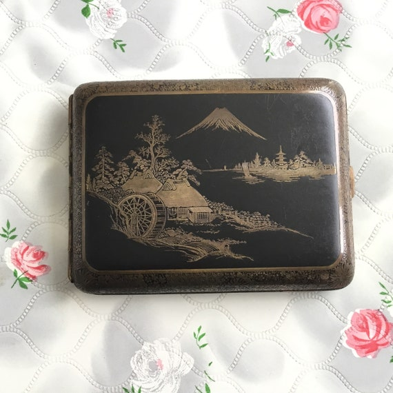 Japanese cigarette case, vintage cigarette case, Mount Fuji cigarette holder, vintage business card holder, black cigarette case,