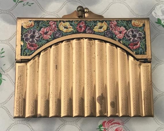 Gwenda ladies cigarette case, c1940s or 1950s, vintage purse style cigarette holder, gold metal and floral design