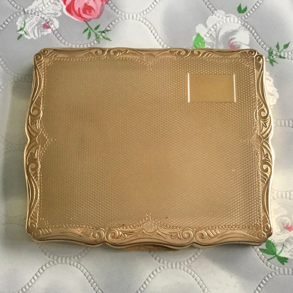 Stratton gold metal cigarette case c 1950s or 1960s, vintage ladies business card case handbag accessory