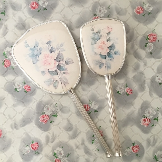 Vanity brush set dressing table set with, vintage hand mirror and hairbrush, c1960s or 1970s