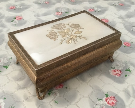 Regent of London jewellery box, with embroidered beige flowers,mid century dressing table trinket chest