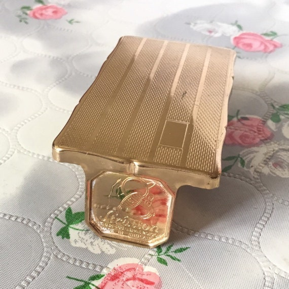 Stratton vintage gold tone Lipview lipstick holder with lip mirror, mid century vanity makeup mirror