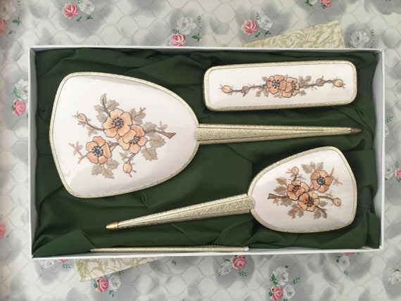 Delina four piece dresser set with hairbrush, hand mirror, clothes brush and comb, vintage unused vanity set with embroidered peach flowers