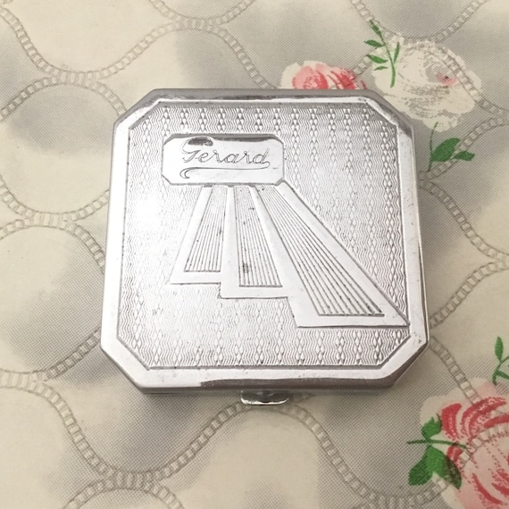 Gerard early pressed powder compact, c1920s or 1930s, Art Deco vintage silver tone makeup mirror