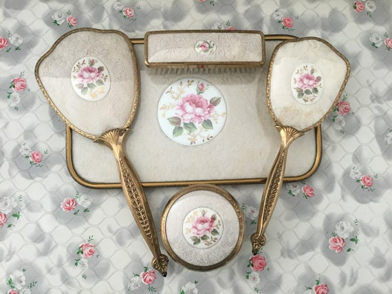Lissco dresser set with hand mirror, hairbrush, tray, powder bowl and clothes brush, vintage 1950s or 1960s pink roses and lace brush set
