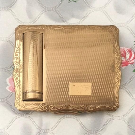 Stratton Empress duo powder compact with lipstick holder, c 1950s, vintage gold tone handbag makeup mirror