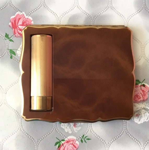Stratton Empress powder compact with lipstick holder, c 1950s or 1960s, brown and gold duo compact with makeup mirror