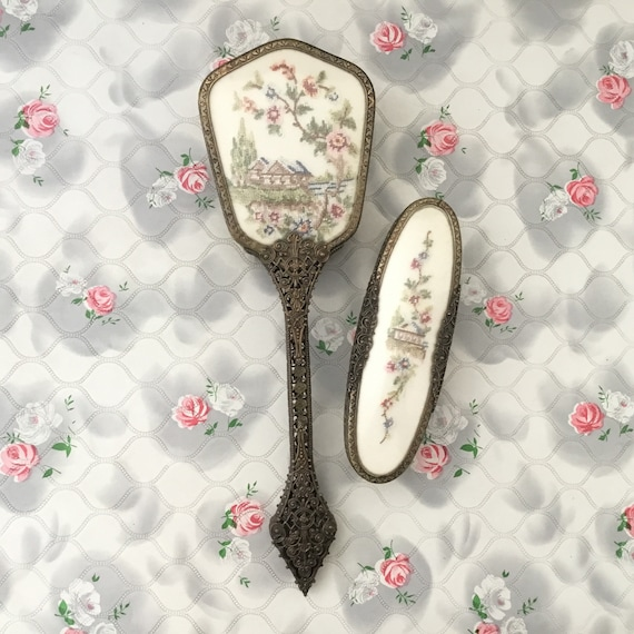 Regent of London two piece brush set with hand mirror and clothes brush, petit point embroidered pink cottage vanity or dresser set, c1950