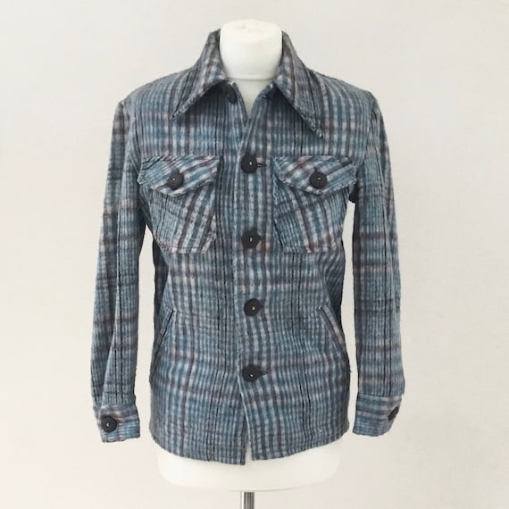 Vintage ladies jacket with blue and burgandy stripe plaid c 1970s, DIC Dakmar retro jacket with breast pockets U.K. size 8 to 10