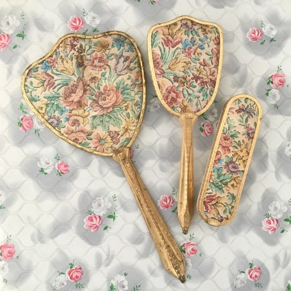 Vanity set with gold hand mirror, hair brush and clothes brush, vintage ladies dresser set with faux tapestry roses c 1940s 1950s