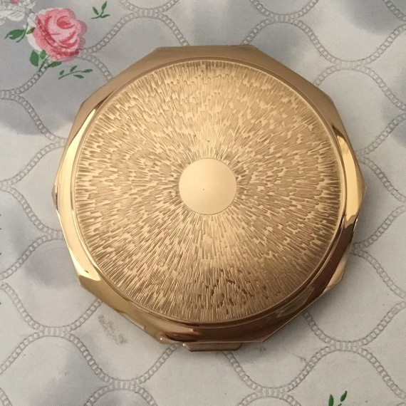 Stratton gold powder compact with ten sides, vintage 1960s convertible decagon makeup mirror