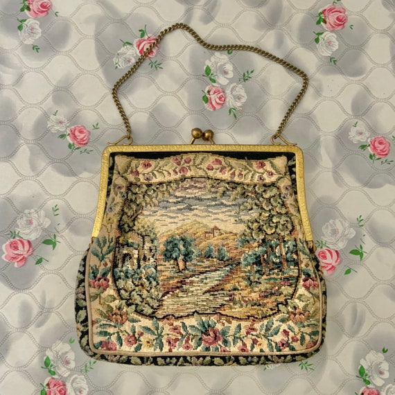 Tapestry evening bag with scenic picture, vintage purse c1960s or 1970s with castle and gold wrist chain