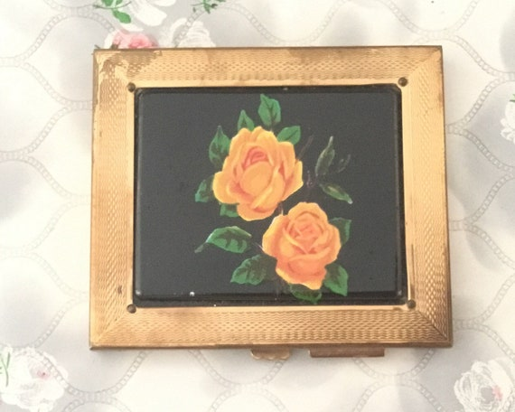 Gwenda cigarette case or business card holder with yellow flowers, 1950s vintage Hussey and Dawson ladies vanity makeup mirror
