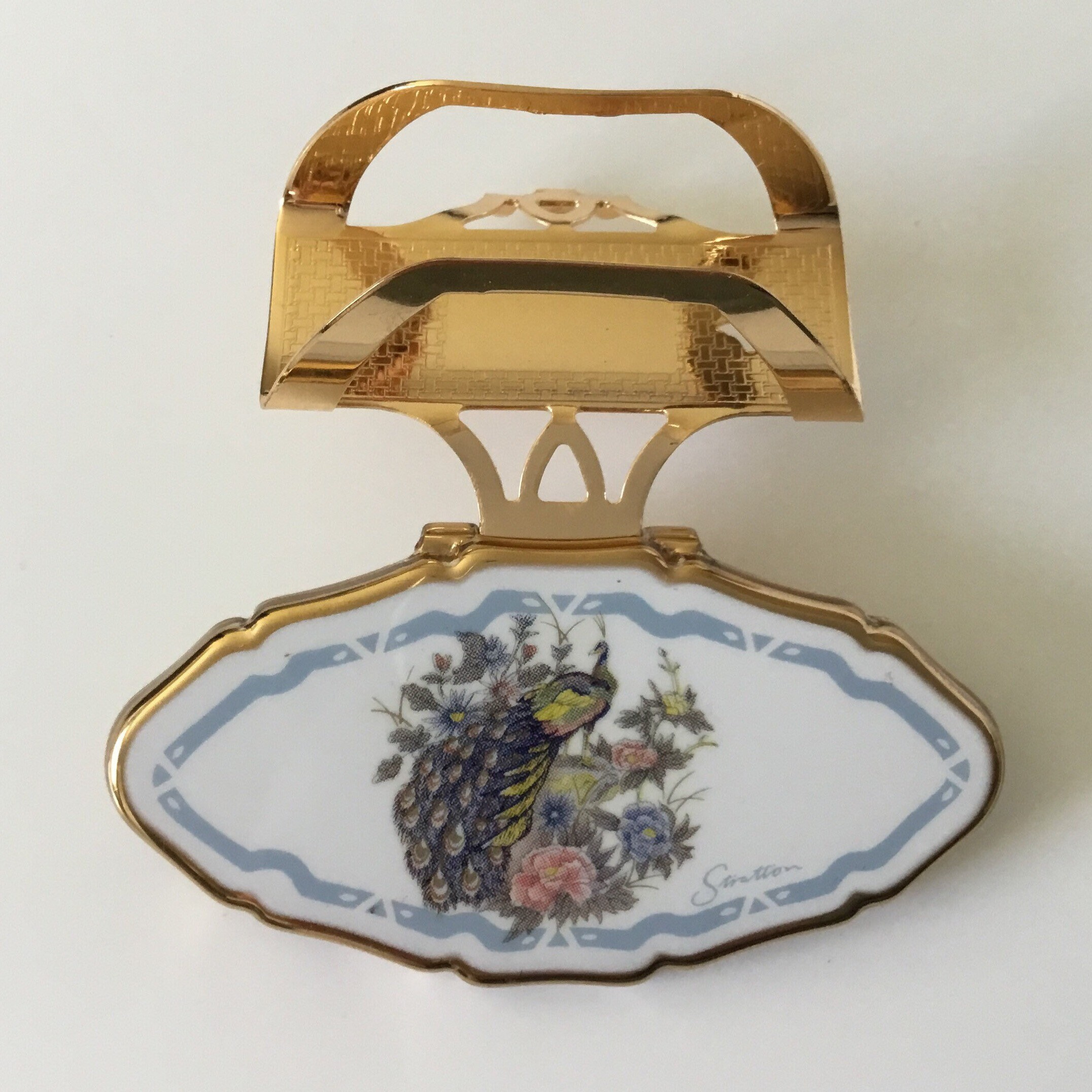 Vintage Stratton Lipview Lipstick Holder And Mirror, With A Peacock