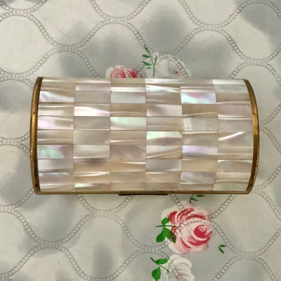 Ronson ladies barrel shaped cigarette case, with mother of pearl c1950s 1960s, vintage bolster lipstick holder,