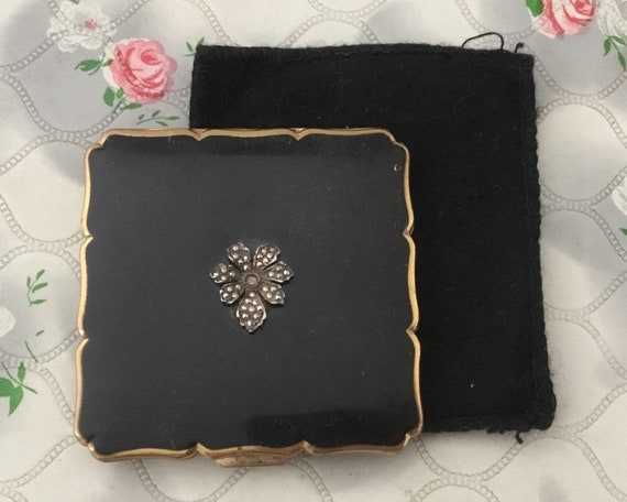 Stratton Royale loose powder compact with marcasites flower, c1950s black square makeup mirror