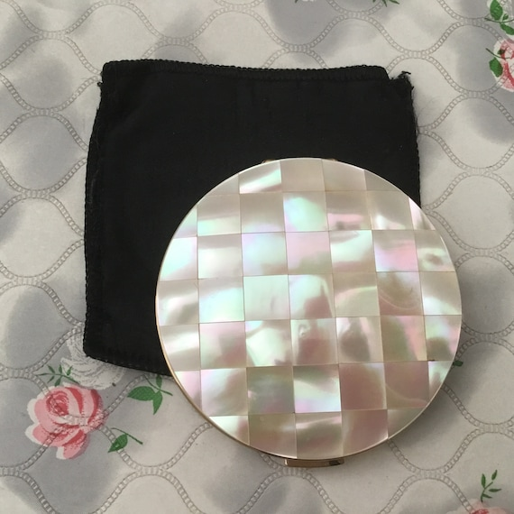 Mother of pearl Stratton convertible powder compact, c1950s or 1960s, vintage mid century MOP makeup mirror