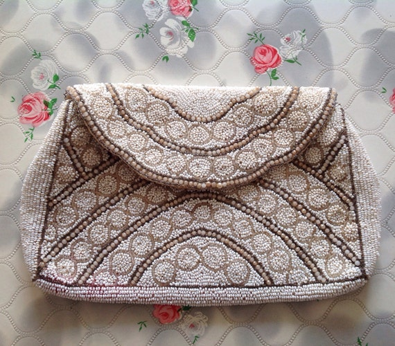 Vintage beaded evening clutch purse, cream wedding puchette c1930s,
