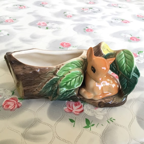 1960s Hornsea pottery posy vase with baby deer and hollow log, 1970s vintage Fauna fawn planter number 24