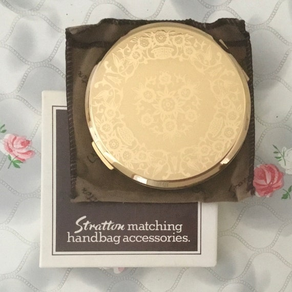 Stratton convertible powder compact, c 1970s or 1980s, gold tone unused vintage makeup mirror