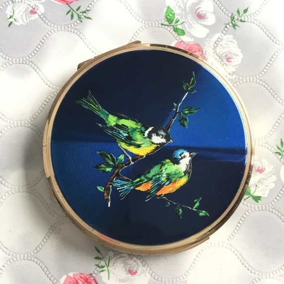 Vintage Stratton convertible powder compact with blue birds, 1950s makeup mirror, 1960s handbag compact mirror, gift for her