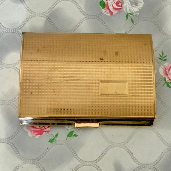 Vintage Melissa cigarette case or ladies business card holder, 1960s gold tone smoking accessory