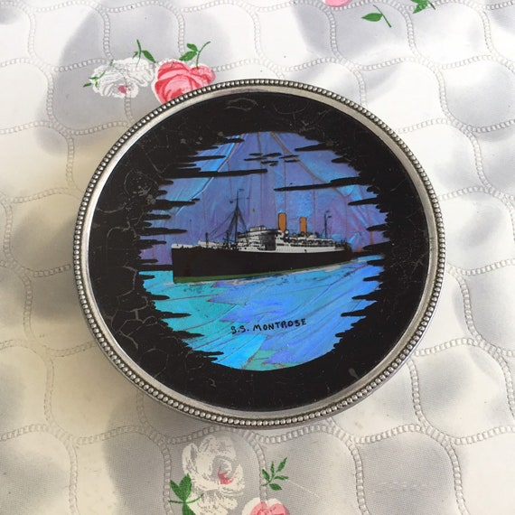 Butterfly wing ashtray or trinket bowl with S.S. Montrose cruise liner, vintage ship souvenir dish