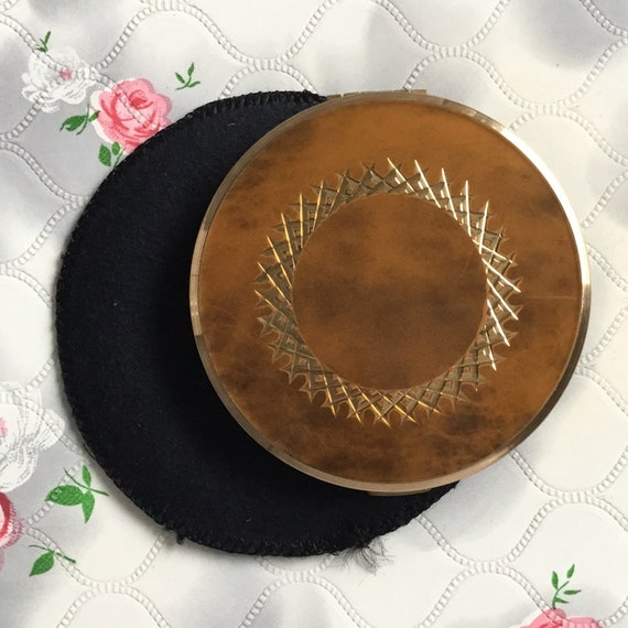 Melissa cream powder compact with faux marble lid, c 1960s or 1970s, Vintage brown faux tortoise shell effect makeup mirror,