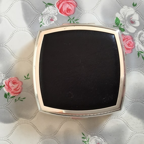New Stratton compact mirror, with faux black leather c 2000, square cushion shaped silver tone magnifying makeup dual mirror,