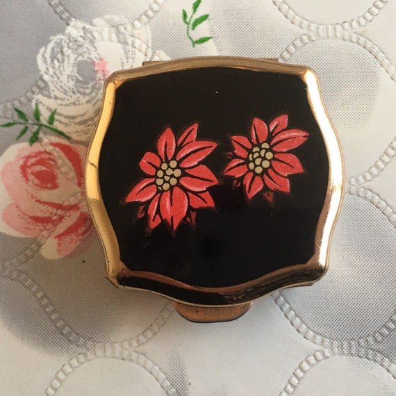 Stratton ladies gold tone mini box with red flowers, vintage 1960s or 1970s portable handbag pill pot
