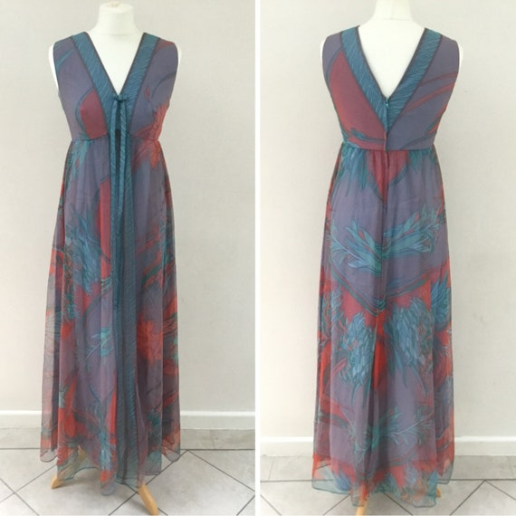 Feminette Models festival maxi dress, lilac with turquoise and pink flowers, c 1970, vintage size 12 or U.K. size 8,