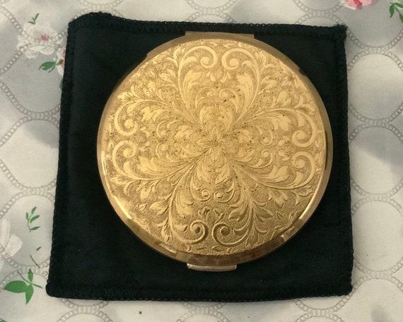 Stratton powder compact, c1970s or 1980s gold tone handbag mirror