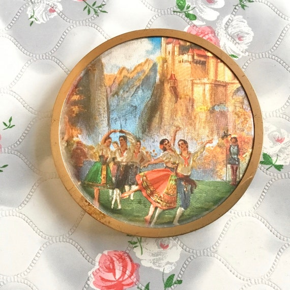 Powder compact with ballet dancing couple, 1950s or 1960s vintage foil makeup mirror with ballerinas