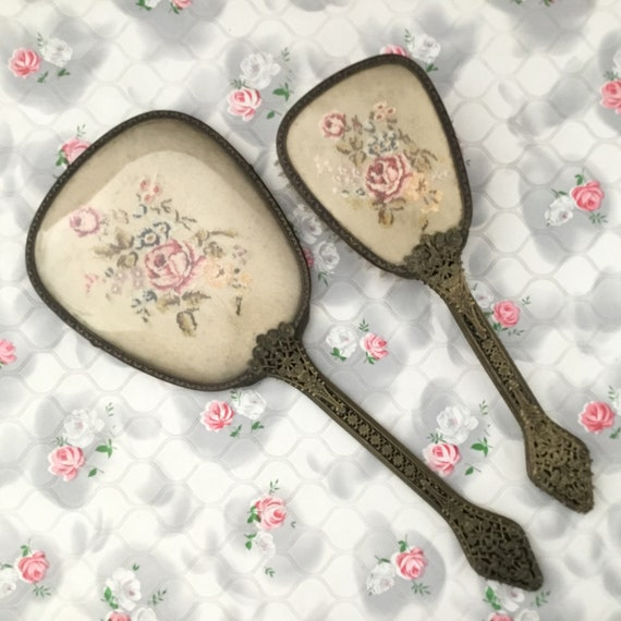 Vintage two piece brush set with hand mirror and clothes brush, petit point embroidered pink roses vanity dresser set, c 1940s