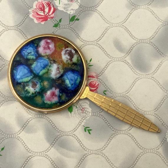 Vintage mini hand mirror, pink and blue multi coloured ceramic tile, mid century handbag mirror