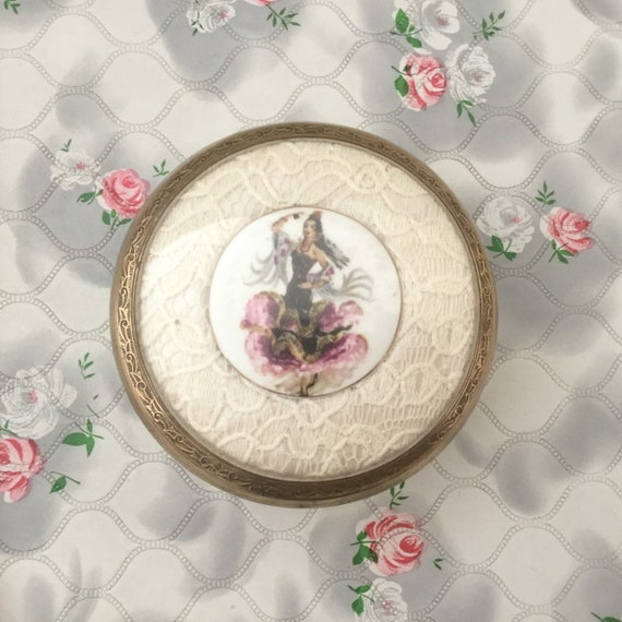 Lissco powder bowl with lace and porcelain Spanish flamenco dancer, vintage pressed glass vanity jar c 1960s, Dressing table trinket pot