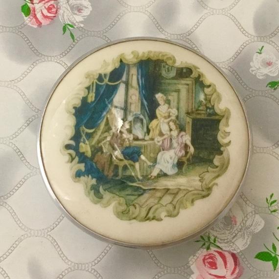 Gwenda milk glass powder bowl with 17th or 18th century ladies, vintage dressing table trinket pot