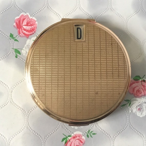 Stratton convertible powder compact, c 1970s or 1980s, with initial, gold tone vintage makeup mirror
