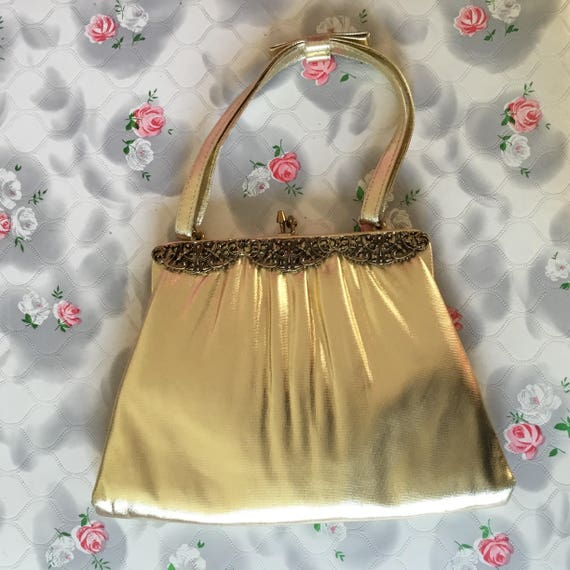 Vintage evening gold bag c1950s, metallic gold evening purse, Valentines gift for her, made in USA by After Five