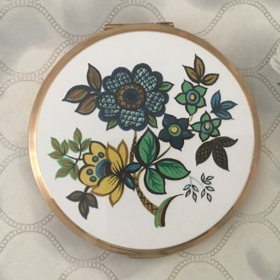 Stratton cream powder compact with turquoise and yellow flowers, 1960s vintage Makeup mirror