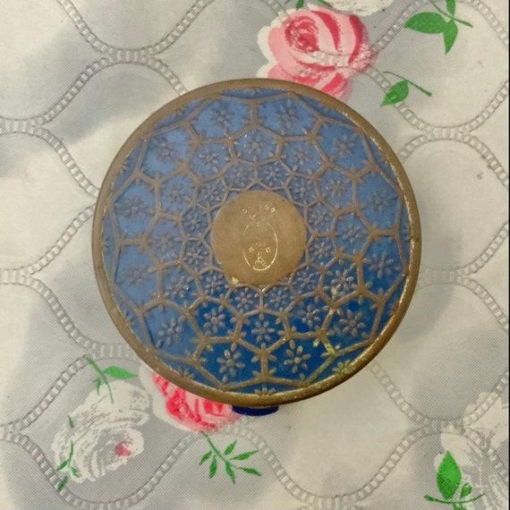 Coty loose powder compact with blue enamel, vintage vintage makeup mirror